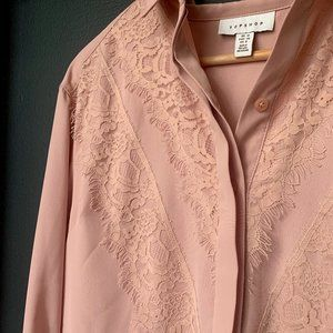 TOPSHOP pink button up blouse with lace detail